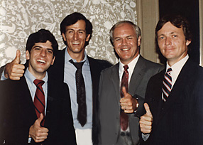 Photo: (From L to R) Bill Friedman ('82), Bruce Woodham ('79), Dick Lister ('80), and Arthur Day ('77).