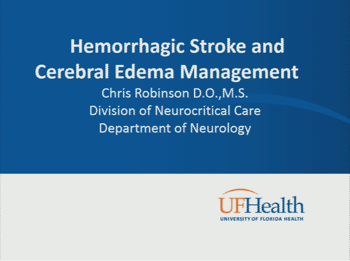 Stroke: Self-Study Course » Lillian S  Wells Department of